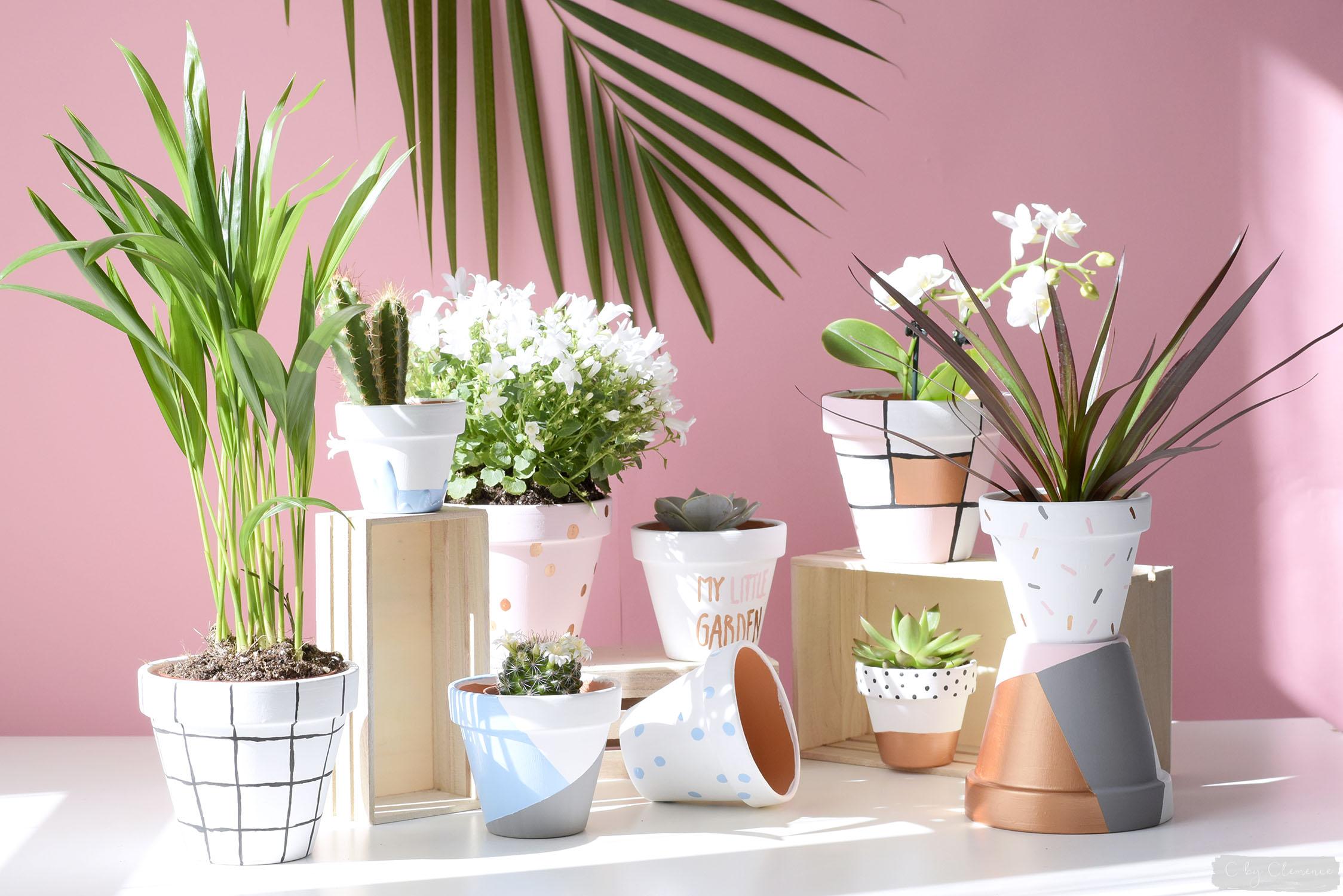 Idee Deco Petit Jardin déco : diy petits pots de fleurs graphiques - cclemence