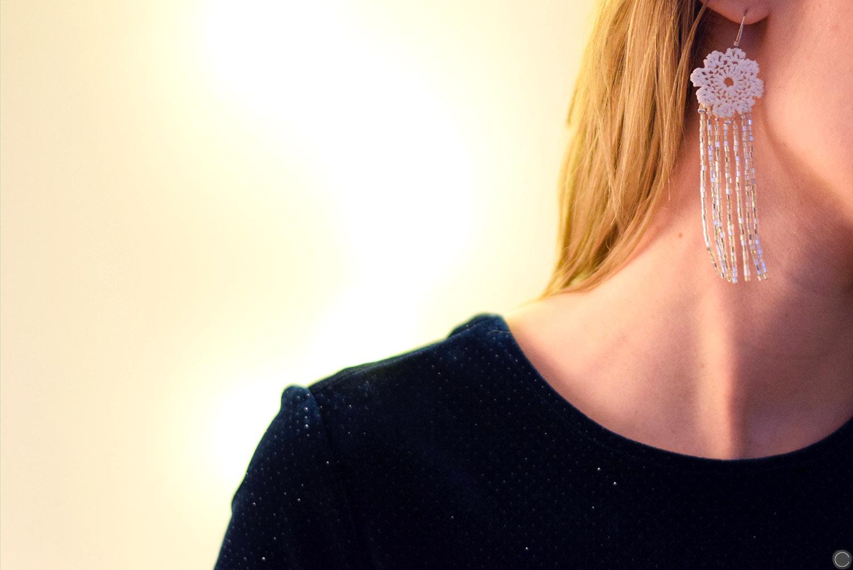 diy bijoux boucles d 39 oreilles en dentelle et franges perles. Black Bedroom Furniture Sets. Home Design Ideas