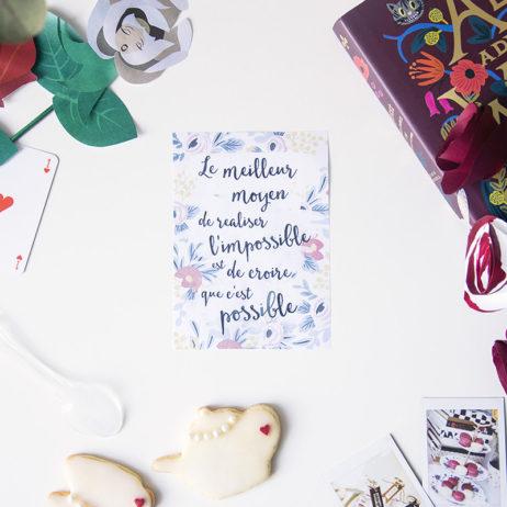 Free printable, mantra du mois de juin : Alice au Pays des Merveilles