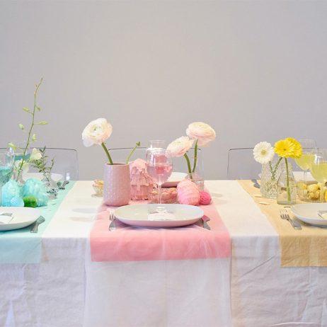 DIY table de Pâques colorblock