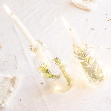 DIY bouteilles détournées en bougeoirs lumineux et végétaux