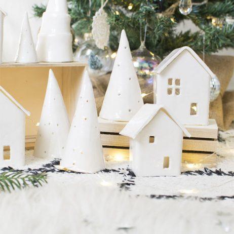 Les sapins et maisonnettes de Noël en pâte auto-durcissante