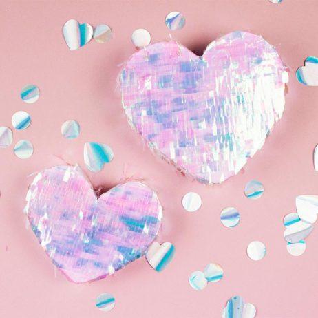 DIY mini pinatas coeur iridescentes