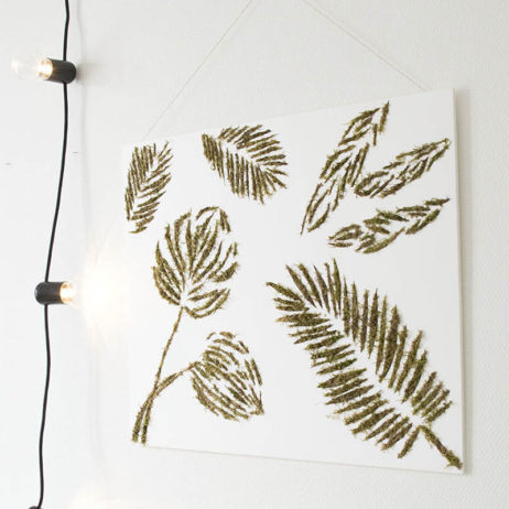 DIY cadre végétal en mousse aux empreintes tropicales