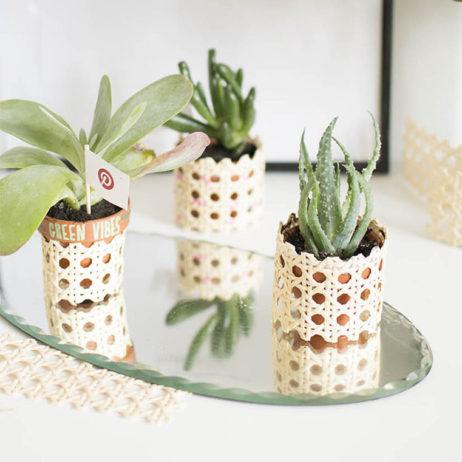 DIY déco : les petits pots de fleurs en cannage (+ atelier DIY chez Pinterest)