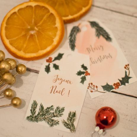Printable : les étiquettes de Noël à l'aquarelle